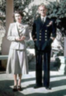 Princess Elizabeth & Philip at Villa Guardamangia during his posting in Malta 