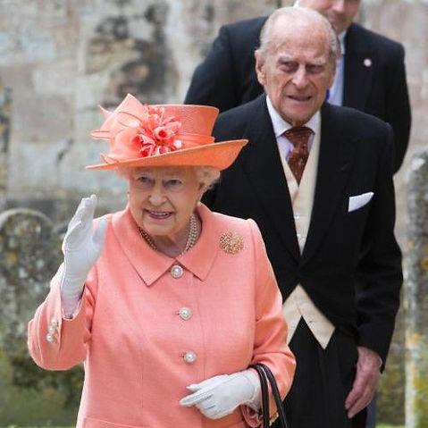 Queen Elizabeth II & Prince Philip, The Duke of Edinburgh arriving at Romsey Abbey for the wedding of Alexandra to Thomas Hooper 