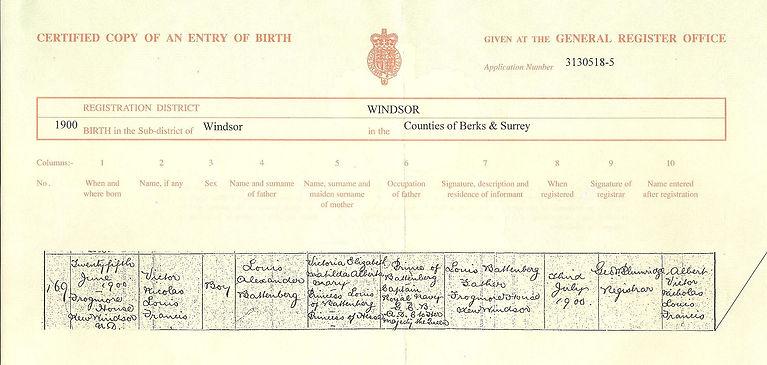 Mountbatten's birth certificate