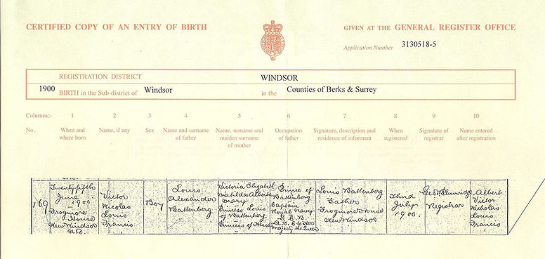 Mountbatten's birth certificate