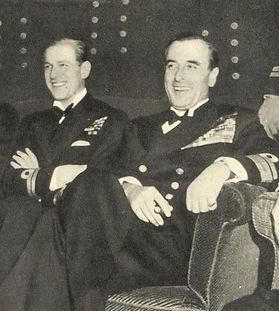 "Philip (left) with Mountbatten at his ""stag night"" dinner at the Dorchester Hotel, London ​"