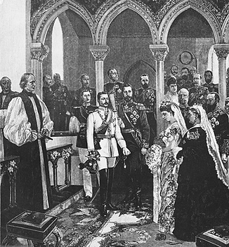 A drawing of the wedding of Prince Henry of Battenberg & Princess Beatrice at St Mildred's Church, Whippingham on the Isle of Wight 