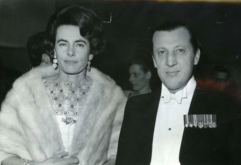 Patricia (left) with John, 7th Lord Brabourne at a film premiere 