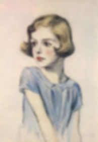 a pastel drawing of Patricia (eldest child of Mountbatten & Edwina) as a child