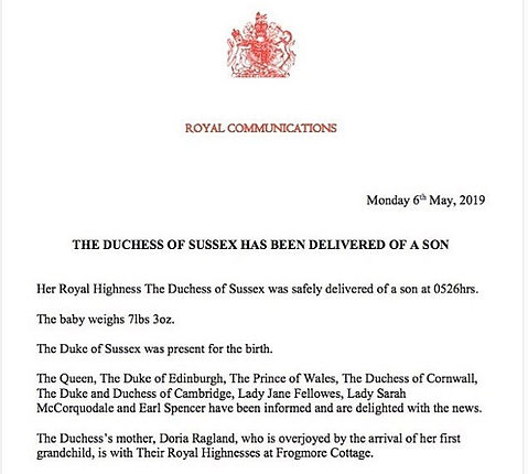 The official announcement from Buckingham Palace about the birth of The Duke & Duchess of Sussex's son 