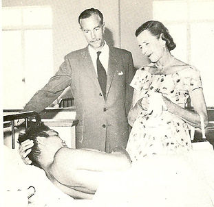 Edwina (right) visiting patients in North Borneo shortly before her death 