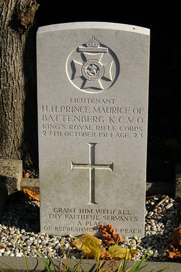 the grave of Prince Maurice of Battenberg today in Ypres, Belgium