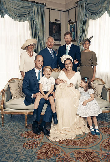 An official photograph from the christening of Prince Louis of Cambridge - seated (left to right): Prince William, Duke of Cambridge;  Prince George of Cambridge; The Duchess of Cambridge (holding Prince Louis); Princess Charlotte of Cambridge.  Back row (left to right): The Duchess of Cornwall; Prince Charles, The Prince of Wales; Prince Henry, Duke of Sussex & The Duchess of Sussex  