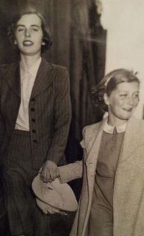 Pamela with her elder sister -  Patricia, later 2nd Countess Mountbatten of Burma (left)