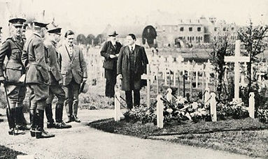  King George V visiting the grave of his cousin -  Prince Maurice of Battenberg in Ypres, Belgium 