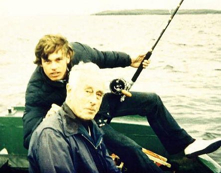 George fishing with his great-uncle - Mountbatten 