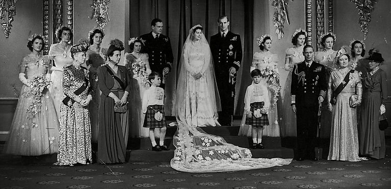 A photograph from the wedding of Queen Elizabeth II & Prince Philip, Duke of Edinburgh.   Alice is standing next to Queen Mary at the front left.  Far right is Victoria, The Dowager Marchioness of Milford Haven (Prince Philip's grandmother) who is standing next to Queen Elizabeth (later The Queen Mother) 