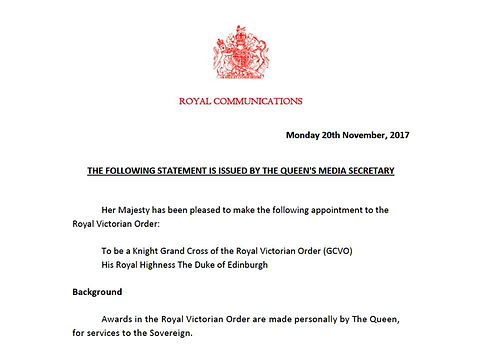 The announcement from Buckingham Palace concerning Prince Philip, Duke of Edinburgh's appointment as a Knight Grand Cross of the Royal Victorian Order (GCVO)