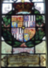A stained glass window depicting Leopold's arms at Magdalene College, Cambridge  