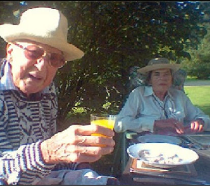 John, 7th Lord Brabourne & Patricia, in their garden in Mersham, Kent - taken shortly before his death 