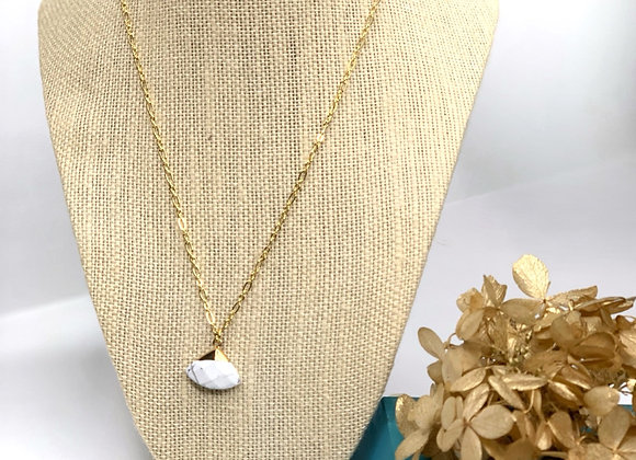 Faceted White Turquoise Triangle Necklace