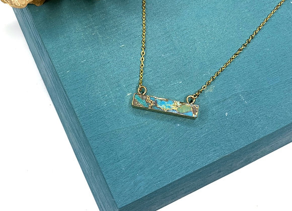 Copper Turquoise Bar Necklace