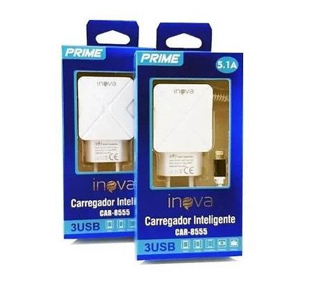 Carregador Celular iPhone 5.1a Inova 3 Saídas Usb Conector iPhone CAR-8555