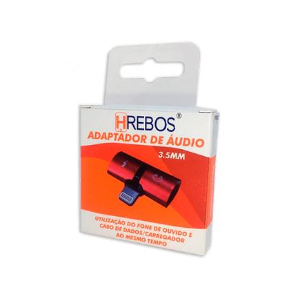 Adaptador De Áudio e Carga Hrebos - Lightnigh Iphone - hs-34