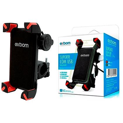 Suporte De Celular Moto USB Carregador Exbom SP-CA54