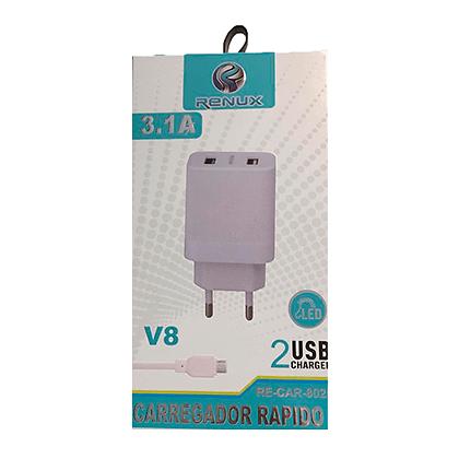 Carregador Celular Renux V8 3.1A 2  Portas USB RE-CAR-8025