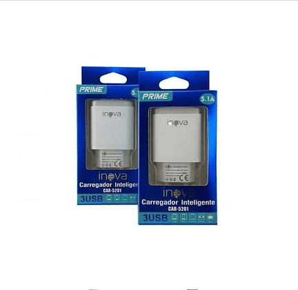 Carregador Prime 5.1A Inova 3 Saídas USB  CAR-5035