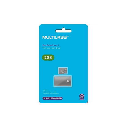 Leitor USB + Cartão De Memória Micro SD Classe 4 2GB Multilaser - MC159