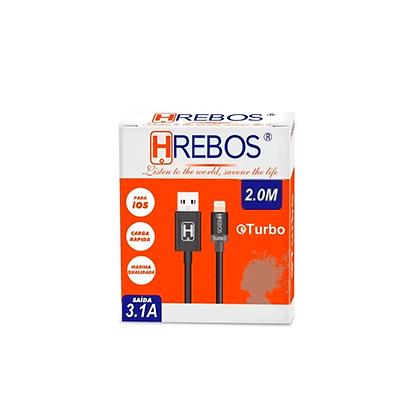 Cabo de Dados Carregador Turbo 3.1A para iPhone - 2 Metros Hrebos HS-65