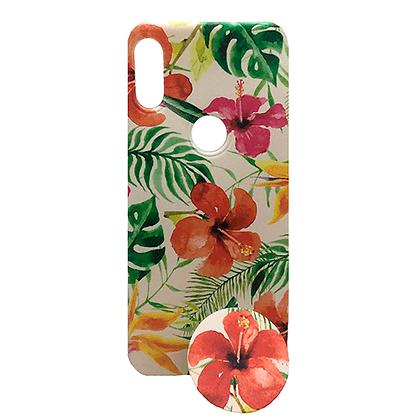 Capa Celular Flores Tropicais Pop Socket Motorola