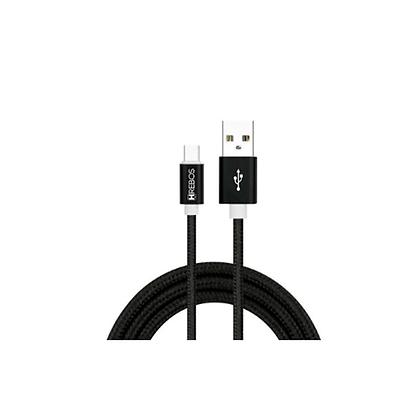 Cabo Celular USB Tecido Tipo C Hrebos Turbo 3.1A HS-03 1.2M