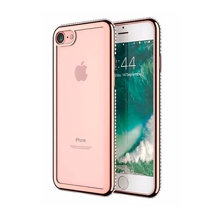 Capa Celular Transparente Bordas Coloridas Strass Iphone