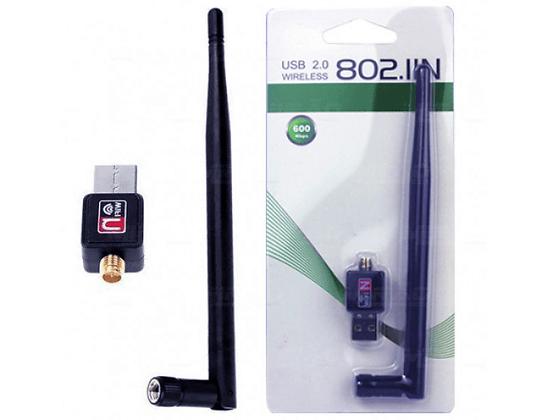 ADAPTADOR USB WIFI COM ANTENA REMOVIVEL LONGA 150MBPS C / ANTENA 5DBI