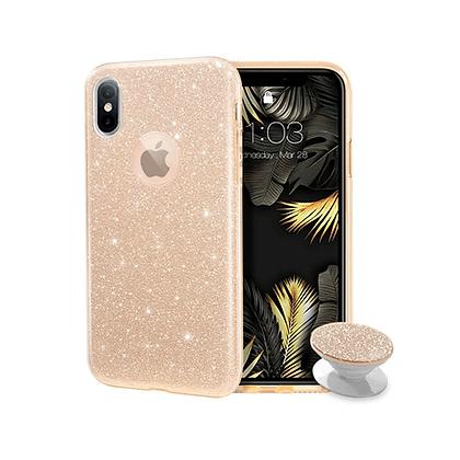 Capa Celular Glitter com Pop Socket Iphone