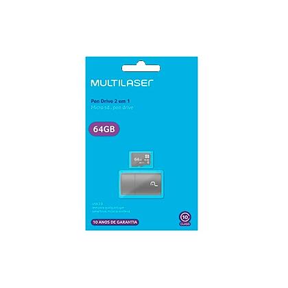 Cartão De Memória Multilaser 64GB + Leitor USB 2 em 1 MC164 CLASSE 10