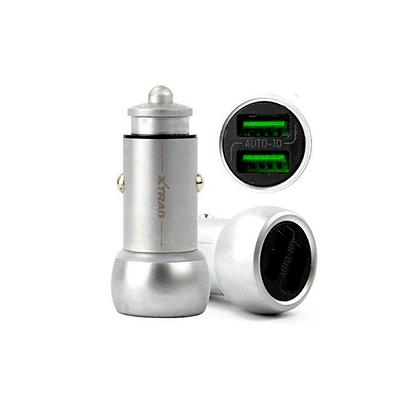 Carregador Veicular Liga De Zinco Auto Id De 2 Usb 3.6a Cabo Para IOS Xtrad - A1