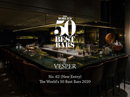 Vesper is now #62 (new entry) in The World's 50 Best Bars 2020!