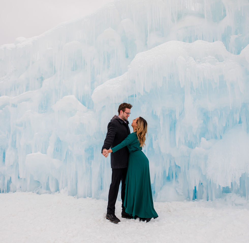 couple dancing in Dillon Ice Castles Breckenridge Colorado