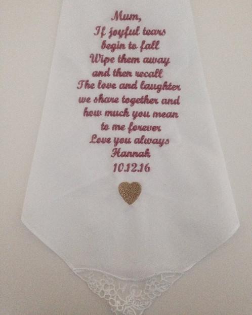 Mother Of The Bride Or Groom Wedding Day Gift Handkerchief Verse