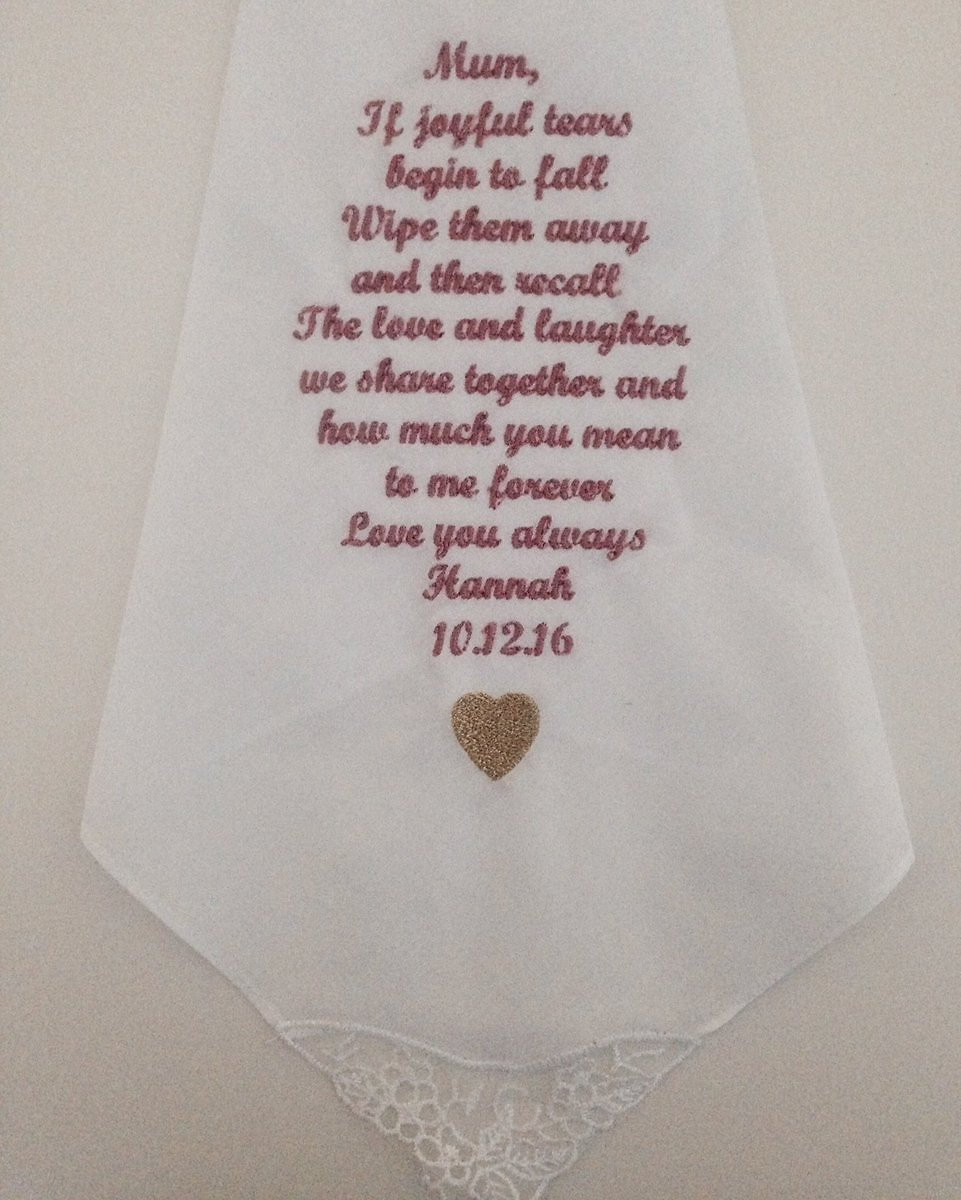 embroidered handkerchiefs wedding. mother of the bride or groom wedding day gift handkerchief embroidered handkerchiefs