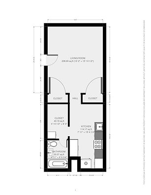 106 S. Hancock St. studio apartment floorplan