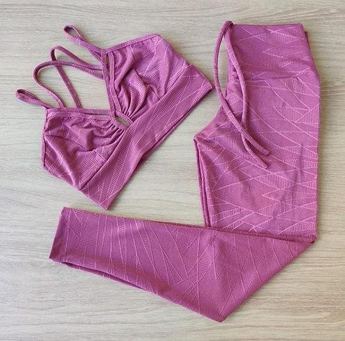 Conjunto top e calça tecido texturado Rosa