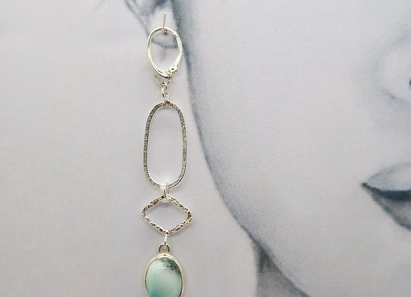 Larimar and Silver boucles d'oreille