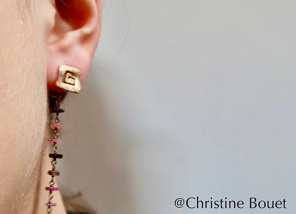 Boucles d'oreille Clou carré et Tourmalines