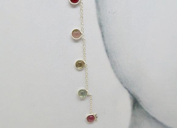 Boucles d'oreille Guirlande de perles multicolores