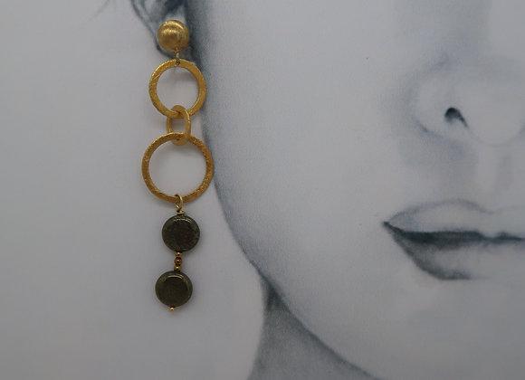 Boucles d'oreille pendantes Pirite
