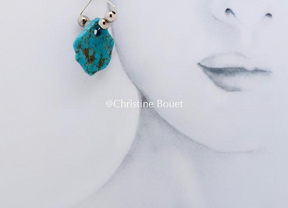Boucles d'oreille De turquoise et d'argent