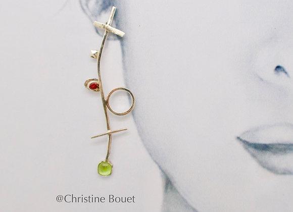 Boucles d'oreille Peridot etTourmaline
