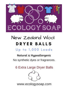 Hang Tag of Ecology Soap's New Zealand Wool Dryer Balls