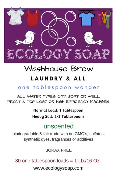 Front Label of Ecology Soap's Washhouse Brew Laundry Soap
