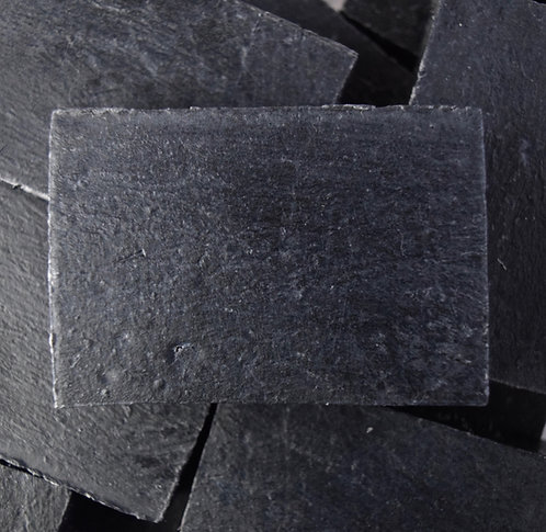 Closeup of Ecology Soap's Lavender Night Activated Charcoal Bar Soap